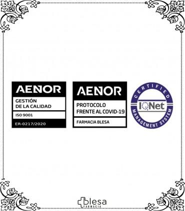 Certificado de Calidad de Farmacia BLESA en NORMA UNE-EN ISO 9001:2015. Protocolo COVID-19 por AENOR