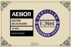 Certificado ISO 9001:2015 e iQNET