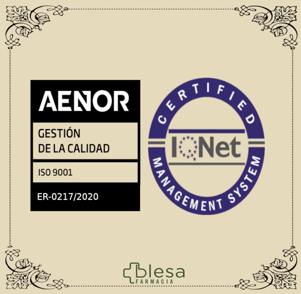 Farmacia Blesa certificada en ISO 9001:2015 y certificado iQNET