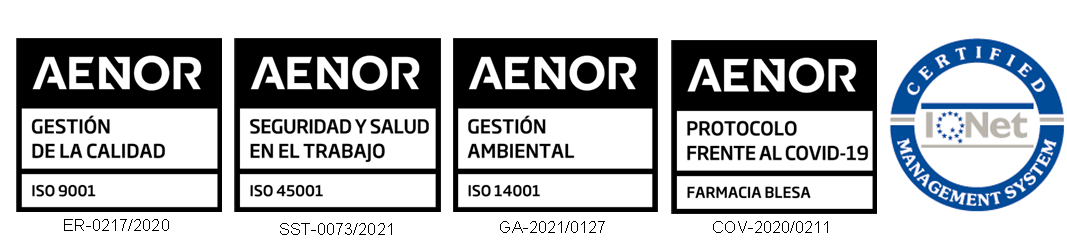 Certificados en ISO 9001:2015, ISO 14001:2015 e ISO 45001:2018 de Blesa Farmacia